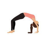 Colorful yoga woman upward bow pose Stock Photography