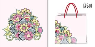 Colorful zen composition of the flowers and packing mockup stock illustration