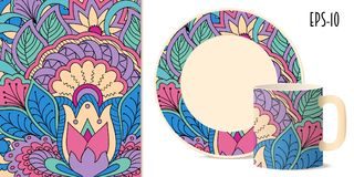 Colorful zen floral pattern with mandala and lotus for dishes. Hand drawn colorful pattern with flowers and mandala in zen style for decorate kitchenware, cup Stock Photo