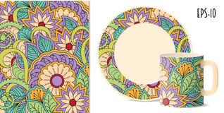 Colorful zen floral pattern with mandalas and dishes mockup. Hand drawn colorful pattern with flowers and mandalas in zen style for decorate kitchenware, cup Stock Photos