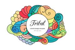 Colorful zentangle-style doodle frame template with copy space area. Ethnic tribal wavy  frame on white background. Colorful. Colorful zentangle-style doodle Royalty Free Stock Photos