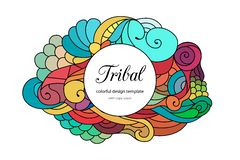 Colorful zentangle-style doodle frame template with copy space area. Ethnic tribal wavy  frame on white. Colorful zentangle. Colorful zentangle-style doodle Royalty Free Stock Image