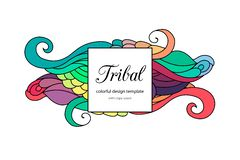 Colorful zentangle-style doodle frame template with copy space area. Ethnic tribal wavy  frame on white background. Colorful. Colorful zentangle-style doodle Royalty Free Stock Photography