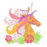 Colorful zentangle style unicorn head with lush mane stock vector illustration Royalty Free Stock Image