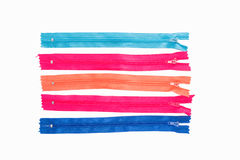 Colorful zipper collection isolated over white Stock Photography