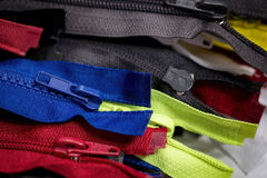 Colorful zippers  background. Royalty Free Stock Photos