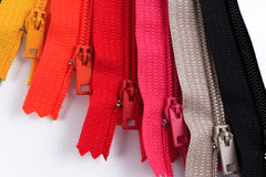 Colorful Zippers in different colors. Stock Images