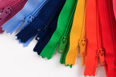 Colorful Zippers in different colors. Stock Image