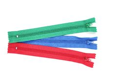 Colorful zippers royalty free stock images