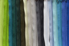 Colorful zippers Stock Photos
