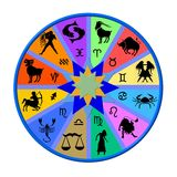 Colorful zodiac disk. An illustrated view of a colourful zodiac disc with both Western and Chinese astrological signs vector illustration