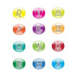 Colorful zodiac icons. 12 colorful zodiac icons isolated over white background Stock Images