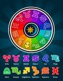 Colorful Zodiac Symbols. Colorful vector zodiac circle and symbols Royalty Free Stock Image