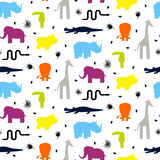 Colorful zoo animal silhouettes baby seamless vector pattern. Giraffe, lion, rhino, crocodile, toucan and elephant on white background Stock Photo