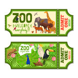 Colorful Zoo Tickets With Tropical Background Royalty Free Stock Image