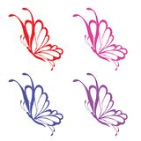 Colorfull动物逗人喜爱的buterfly象集合2 免版税库存照片