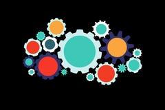 Colorfull在背景隔绝的嵌齿轮轮子-技术concep 免版税库存照片
