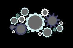 Colorfull在背景隔绝的嵌齿轮轮子-技术concep 图库摄影