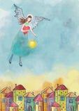 Colorfull房子和守护天使 额嘴装饰飞行例证图象其纸部分燕子水彩 库存图片