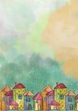 Colorfull房子 古老背景黑暗的纸水彩黄色 在看板卡儿童圣诞节圈子附近跳舞前夕问候愉快的雪人 免版税库存照片
