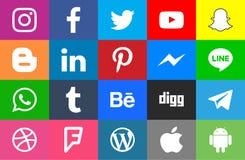 Социальные округленные средства массовой информации и colorfull иллюстрация вектора