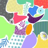 Colorfull abstract geometric background with floral elemens and textures memphis style vector illustration. Colorfull abstract geometric background with floral Royalty Free Stock Photo