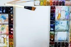 Colorfull-Aquarellpaletten-Kunsttapete Stockbild