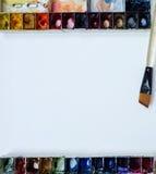 Colorfull-Aquarellpaletten-Kunsttapete Stockfotografie