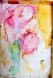 Colorfull-Aquarellpaletten-Kunsttapete Stockbilder