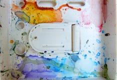 Colorfull-Aquarellpaletten-Kunsttapete Stockfotos