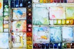 Colorfull-Aquarellpaletten-Kunsttapete Lizenzfreies Stockfoto