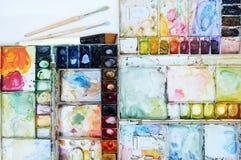 Colorfull-Aquarellpaletten-Kunsttapete Lizenzfreies Stockbild