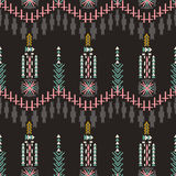 Colorfull aztec seamless pattern on dark background. Ethnic abstract geometric texture. Hand drawn navajo fabric. Can be used for. Wallpaper, web page Royalty Free Illustration