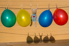 Colorfull balloons on a washing line Stock Image