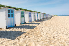 Colorfull Beach houses. On the beach of Texel Royalty Free Stock Photos
