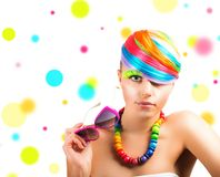 Colorfull beauty fashion portrait Stock Images