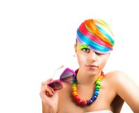 Colorfull beauty fashion portrait Stock Photos