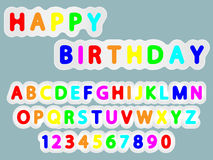 Colorfull birthday font. Flat  rounded colorfull font alphabet letters and numerals like new paper effect design Royalty Free Stock Photography