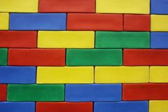 Colorful brick wall stock image