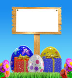 Colorfull bunny with white board. 3d bunny with white board Royalty Free Stock Image
