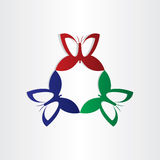 Colorfull butterflies fly in circle shape Stock Images