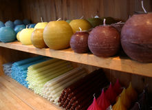 Colorfull candles. On a rack; christmas decoration Royalty Free Stock Photography