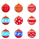 Colorfull christmas balls with ornaments, different colors, isolated on white. Set. Vector illustration. royalty free illustration