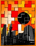 Colorfull city. Vector illustration of city in modern style Stock Photos