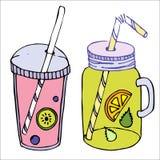Colorfull coctailuppsättning, roliga coctailar med fruts och bär, vektor illustrationer