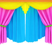 Colorfull curtains on a white background Royalty Free Stock Image
