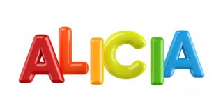 Isolated colorfull 3d Kid Name balloon font Alicia. Colorfull 3d Kid Name balloon font Louis on white background Stock Photography