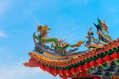 Colorfull decorative tower in chenese temple Stock Image