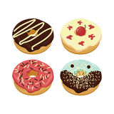 Colorfull Delicious Doughnuts : Chocolate Strawberry Vanilla Plain Cheese Royalty Free Stock Image