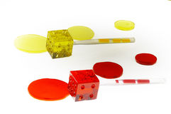 Colorfull dice lollipops Royalty Free Stock Images